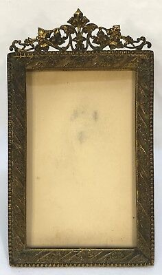 Antique Art Nouveau Brass Standing Beaded Picture Frame 3 3/4 x 2 1/2 Opening