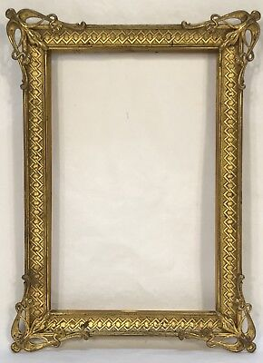 Antique Art Nouveau Brass Picture Frame Floral Corners 7 1/2 x 5 Opening
