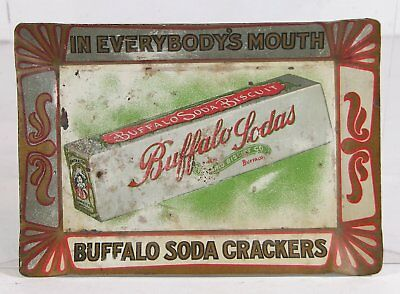 c1910 BUFFALO SODA CRACKERS TIN LITHOGRAPH ADVERTISING TIP TRAY ONTARIO BUISCUIT