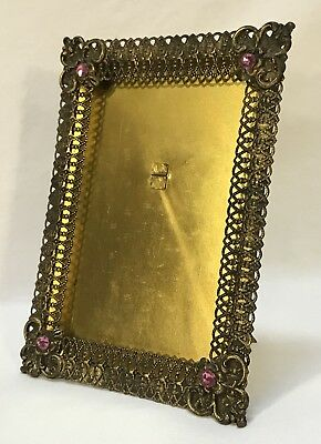 Antique Victorian Ornate Jeweled Filigree Bronze Brass Easel Back Picture Frame