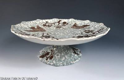 Antique c.1870s-1880s English Aesthetic Movement Compote Bowl BIRDS Transfer