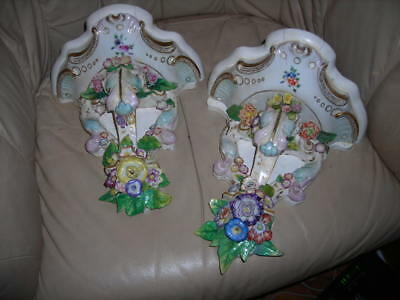 Lovely Pair Of Antique Victorian Dresden Style Wall Sconces 10X10X7
