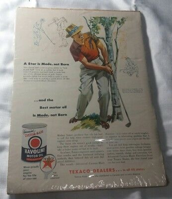 1954 Sam Snead golf art Texaco Havoline oil vintage print ad