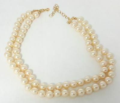 """Kenneth Jay Lane Simulated Pearl Portrait Necklace 16"""" Long And Double Stranded"""