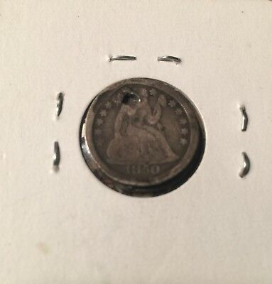1850 US Seated Liberty Silver Dime; Holed