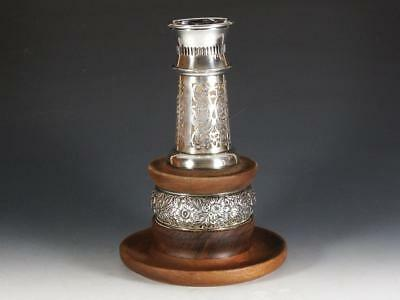 Wallace Sterling Hurricane Lamp with Repousse Sterling & Wooden Base