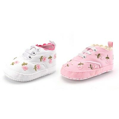 Baby Girls Crib Shoes Anti-slip Lace Floral Soft Sole Up Sneakers Toddler 3-12M