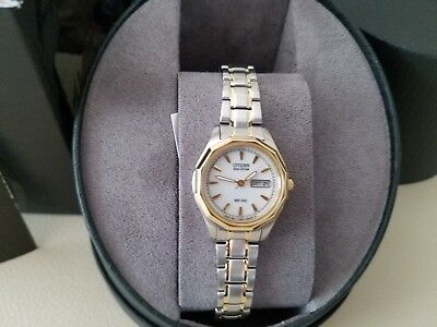 NEW CITIZEN WOMEN'S Eco-Drive EW3144-51A TWO-TONE STAINLESS-STEEL WATCH