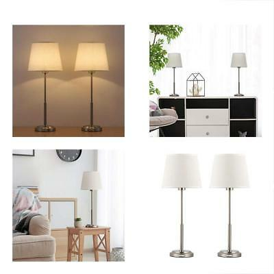 Modern Table Lamps Set Of 2 - Brushed Nickel Bedside Desk With Fabric Linen And