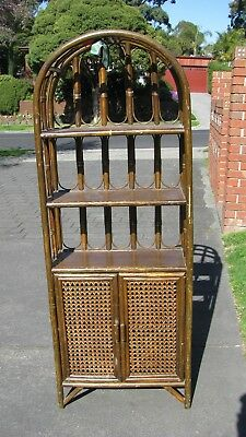 Vintage Arched Bamboo Cane Rattan Hallway Stand
