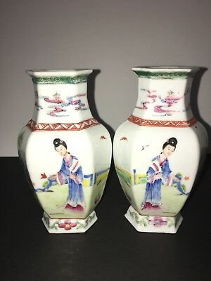 "Pair of Antique Chinese Hexagonal Small Vase Early Republic Period 20th C. 5.7""T"