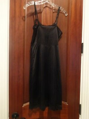 vintage black nylon full slip - silky wide lace - modified neckline length - 36