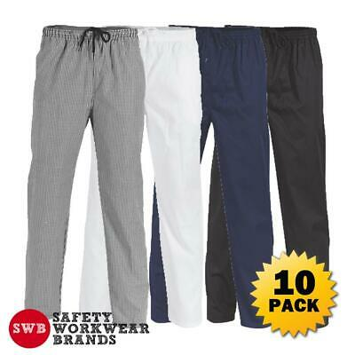 10 x DNC Workwear Unisex Polyester Cotton Drawstring Chef Pants Work Cook 1501
