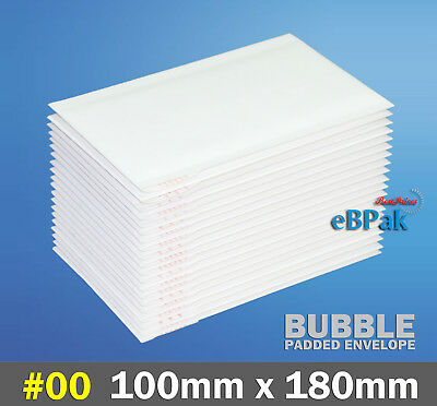 Bubble Mailer #00 100x180mm - Plain Blank - White Cushioned Padded Bag Envelope