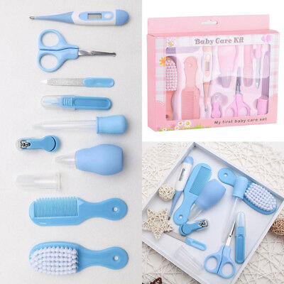 10pcs Newborn Baby Nail Hair Brush Thermometer Grooming Kit Health Care Bath Set