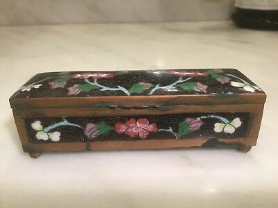 Antique Chinese Cloisonne Box With Florals & Very Nicely Done