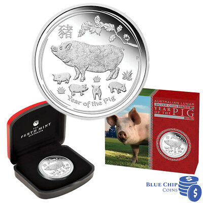 2019 $1 YEAR OF THE PIG 1OZ SILVER PROOF COIN by Perth Mint