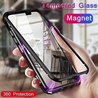 Magnetic Absorption Back Glass Case Metal Frame Cover For iPhone XS Max XR IP X