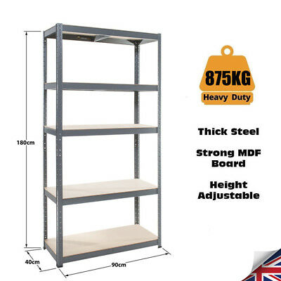 180x90x40cm, 5 Tier Garage Shed Storage Shelving Units Heavy Duty Boltless Metal
