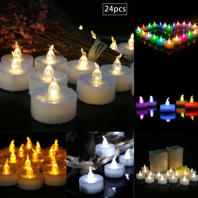 12/24x Flameless LED Flickering Tea Lights Wedding Candles Battery Operated