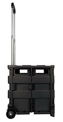 Mobile Folding Cart With Lid, 16in.H x 18in.W x 15in.D, Black