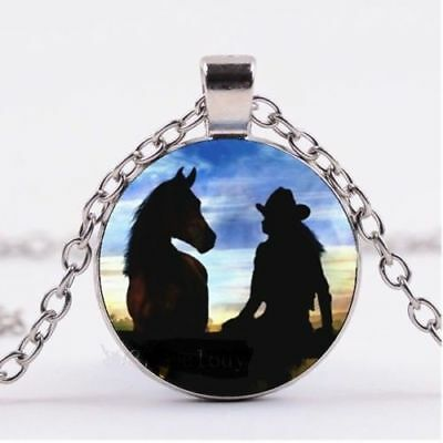 "HORSE COWGIRL ANIMAL pendant  SILVER 20"" necklace women female mom FREE GIFT box"