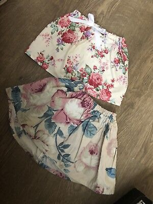 Two Handmade Flower Patterned Skirts Age 9-12 Months