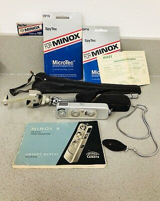 Vintage MINOX B SPY CAMERA Complan f15 mm Original Case & Chain