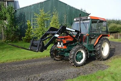 Zetor 6340 four wheel drive tractor with bucket, spikes and forks