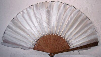 Qing Period Chinese Cantonese Carved Boxwood & Goose Feather Brise Fan