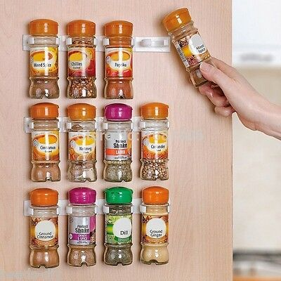 10pcs Wall Cabinet Clips Kitchen Spice Gripper Strip Jar Rack Storage Holder AU