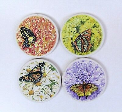 Butterfly Ceramic Absorbent Coaster Set of 4 Artist SM Wood Cork Backing 4 inch