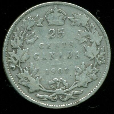 1907 Canada 25 Cent Piece, King Edward VII, Original Sterling  O75