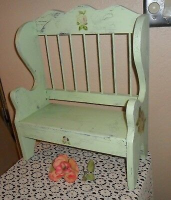 Pretty Old Stool, Bench, Shabby Chippy Pale Green Pink Cabbage Roses, Plant Std
