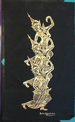Signed Authentic Original Thai Cambodian Temple Rubbing Angkor Wat Gold On Cloth