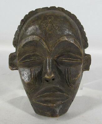 Vintage African Chokwe Tribe Hand Carved Wooden Tribal Face Mask Angola NR yqz