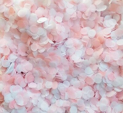 Pink & White Biodegradable Wedding Confetti - Circles Party/Baby Shower Mix