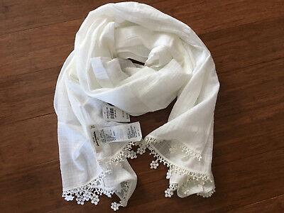NEW ABERCROMBIE Kids Girls Off-white 100% Cotton Scarf NWT