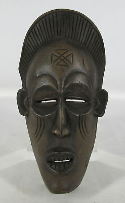 Vintage African Chokwe Tribe Hand Carved Wooden Tribal Face Mask Angola #2 yqz