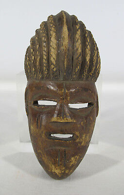 Vintage African Chokwe Tribe Hand Carved Wooden Tribal Face Mask Angola #5 yqz