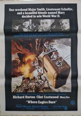 Where Eagles Dare 1968 Original 1 Sheet Film Poster-Clint Eastwood 30x40 inch