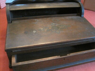 Walnut Roll Top Lap Desk w/ Pull Out Drawer Opens when Drawer Opens Antique
