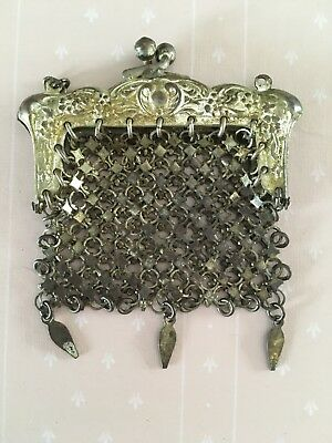 Antique Victorian German Silver Chatelaine Chain Mail Mesh Purse Doll Size