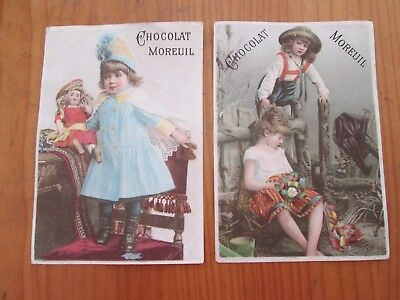 2 x Rare 19th Century French Trade / Advertisement Cards Moreuil Chocolate Paris