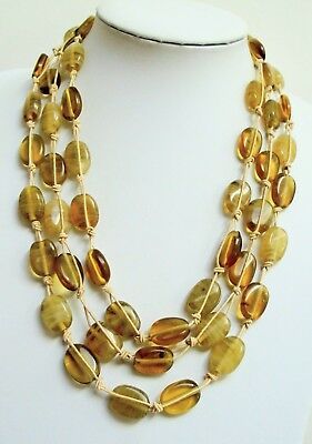 Stunning 3 row vintage hand knotted agate glass bead necklace