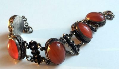 FABERGE Antique Imperial RUSSIAN Bracelet with Amber stones, 84 silver.