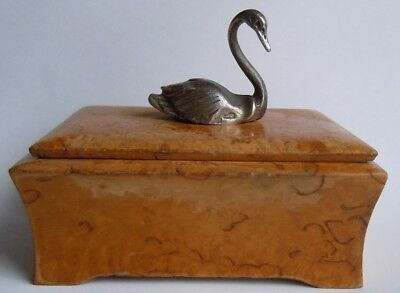 FABERGE Antique Imperial RUSSIAN Casket from Karelian birch with swan, 84 silver