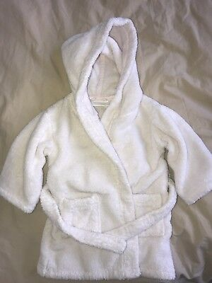 THE LITTLE WHITE COMPANY Fluffy Fleece Dressing Gown Bathrobe Age 12-18m pink