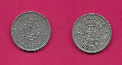 Guine Bissau Portuguese Guinea 5$00 Escudos Xf Crowned Towers & Small Shields Ab