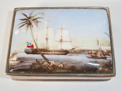 Small Sterling Silver Box Enamel Ship on Lid London 2000